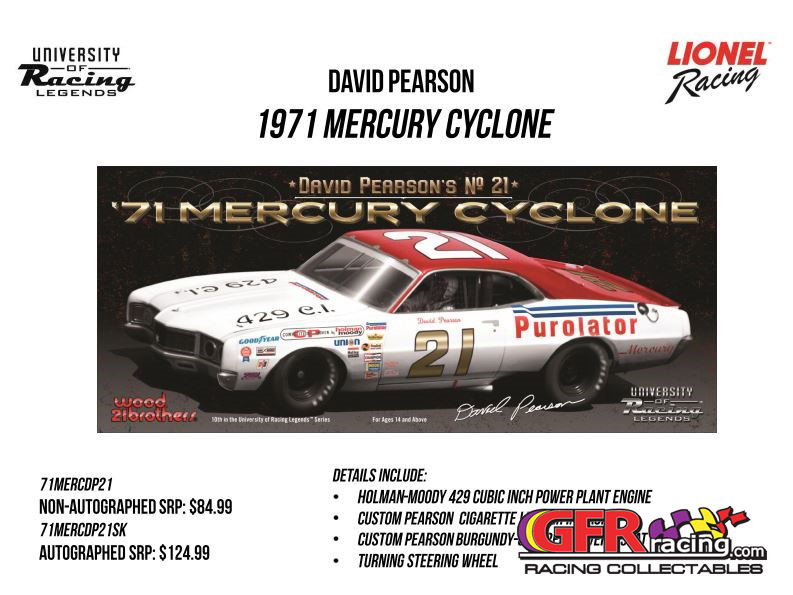 "1971 David Pearson #21 Purolator .""AUTOGRAPHED"" Mercury Cyclone 1:24  Diecast Car."