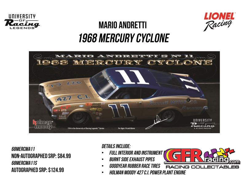 "1968 Mario Andretti  #11 Bunnell Motor Co. Mercury Cyclone ""Autographed"" 1:24  Diecast Car"